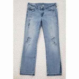 "True Religion ""Cora"" Mid Rise Straight Crop Jeans"